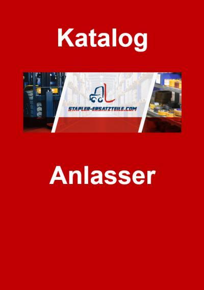 """Titelbild Katalog """"Anlasser"""" - Stapler-Ersatzteile.com Logo in der Mitte, darüber das Wort """"Katalog"""" und darunter """"Anlasser"""", weiße Schrift auf rotem Hintergrund"""