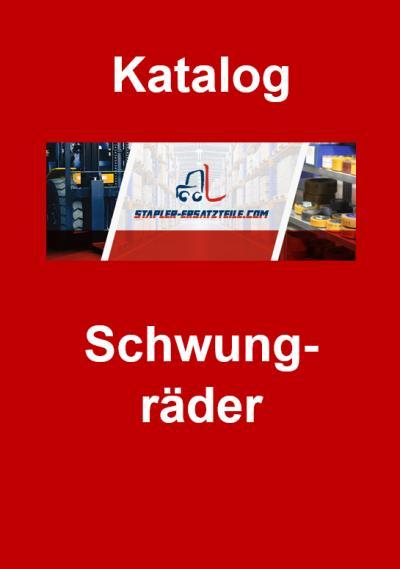 """Titelbild Katalog """"Schwungräder"""" - Stapler-Ersatzteile.com Logo in der Mitte, darüber das Wort """"Katalog"""" und darunter """"Schwungräder"""", weiße Schrift auf rotem Hintergrund"""