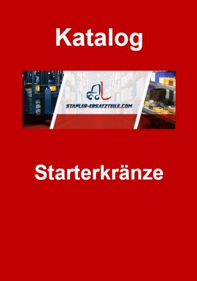 """Titelbild Katalog """"Starterkränze"""" - Stapler-Ersatzteile.com Logo in der Mitte, darüber das Wort """"Katalog"""" und darunter """"Starterkränze"""", weiße Schrift auf rotem Hintergrund"""